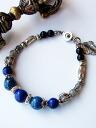 Karen silver bracelet/chrysocolla & lapis lazuli