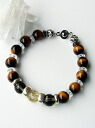Bikies breath Silver& rutile / onyx / tiger eye bracelet