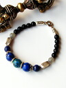 Karen silver bracelet/chrysocolla & lapis lazuli & Labradorite