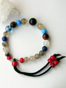Straps (nylon) bracelet and 7 different stones (turquoise & Himalayan Crystal)