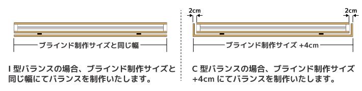 C型バランスの最大制作幅は240cmとなっております。ブラインドの上部を覆うようにして取り付ける為、ブラインド本体の幅が236cm以上の場合は制作できません。