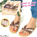 Cotton lace decoration flower print thong sandals