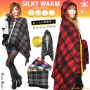 "It spawns new material ""シルキーウォーム"" Tartan pattern oversized poncho scarf."