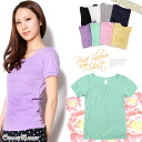 All 8 colors! gathered chest & back tears open puff sleeve short sleeve T shirt