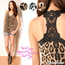キラキラス stone décor ☆ hook crochet your Leopard print tank top