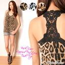 キラキラス stone décor ☆ hook crochet your Leopard print tank top