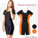 Ladies ' short-sleeved allinone fitness swimwear Yep_100 pants [type], [one piece] [Gaijin] [bridge] [Navy] [orange] 9 M 11 L 13 L