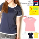 DRY short sleeves T-shirt [Lady's] of sports brand FILA [Fila] [sweat perspiration] [fast-dry] [UV cut] [ultraviolet rays protection] [recurrence reflection] [the dry ][U neck] [crew neck] [white] [navy] [pink] [yellow ][M][L][LL]]