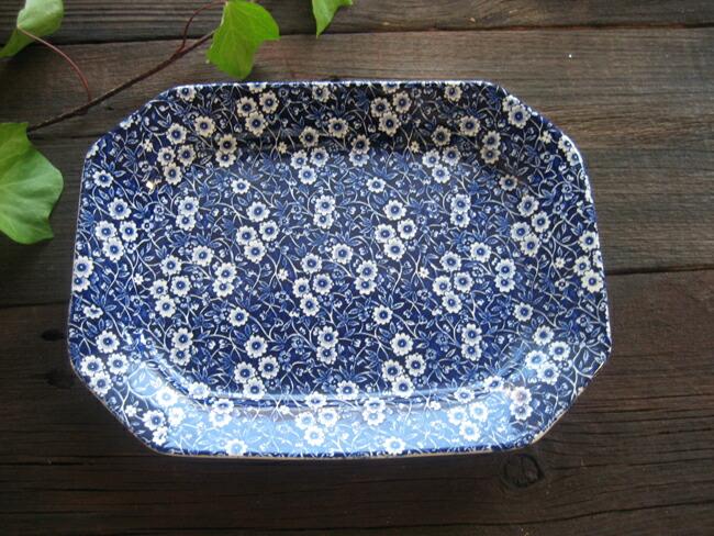 联合王国餐具伯,蓝印花布方形盘小 25 厘米