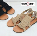 71302 MINNETONKA( Mine Tonka) MAUI real leather leather 2 lei yeah fringe resort sandals /