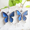 Feather * butterfly pierced earrings of a genuine butterfly