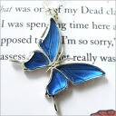 "Swallowtail Butterfly design with sharp ◆ blue butterfly ""morpho"" with real butterfly wings necklace"