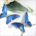 "Feather pierced earrings * one ear * of the genuine butterfly using sharp アゲハ butterfly design ◆ blue butterfly ""morpho"""