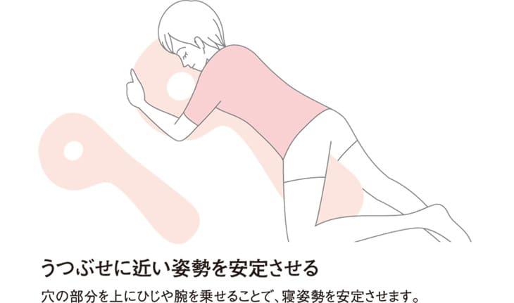 うつぶせに近い姿勢を安定させる