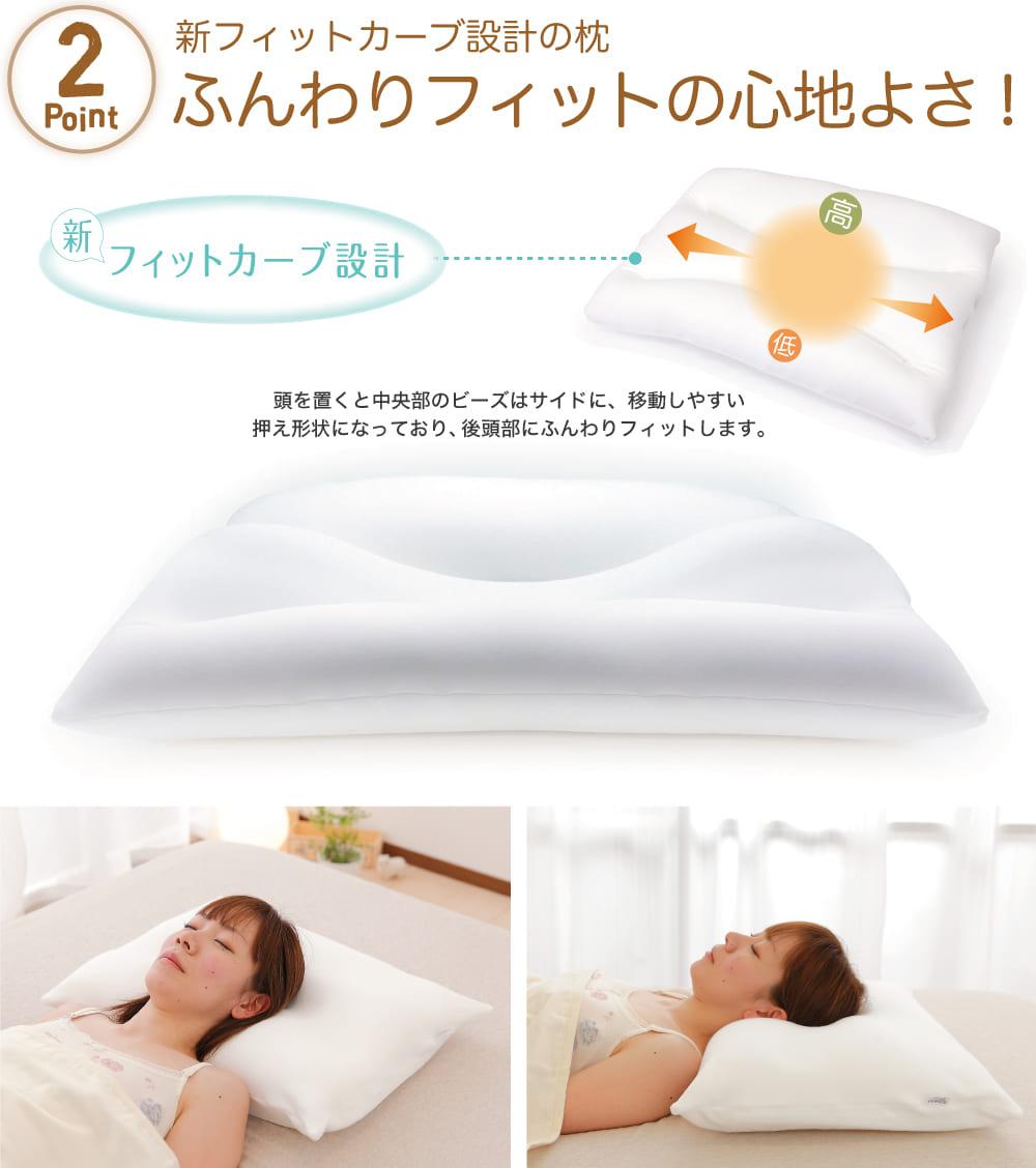 ポイント2新フィットカーブ設計の枕。ふんわりフィットの心地よさ!