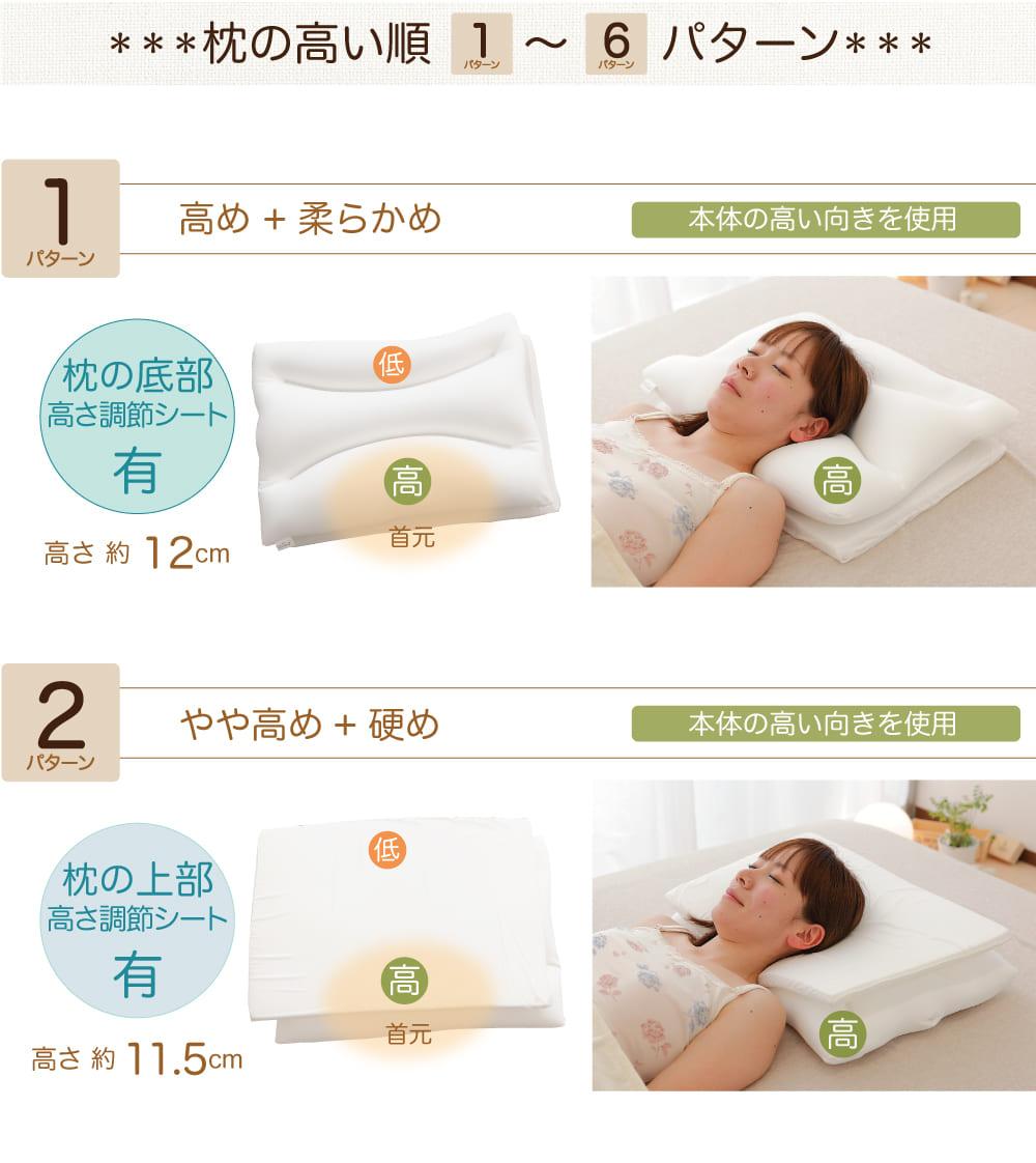 ポイント3枕の高い順1〜2パターンの説明