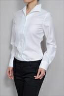 【レディースシャツ】ナチュラルフィット・長袖・プレミアムコットン120番手双糸・イージーケア・イタリアンカラー・日本製