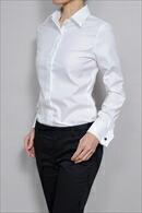 【レディースシャツ】ナチュラルフィット・長袖・綿100%(120番手双糸)          ・ダブルカフス・プレミアムコットン・イージーケア・日本製