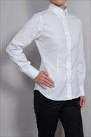 【レディースシャツ】 スリムフィット・長袖・綿100%・プレミアムコットン・形態安定・ボタンダウン・日本製