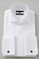 【メンズ・ドレスシャツ・ワイシャツ】 タイトフィット・ダブルカフス・プレミアムコットン120番手双糸・イージーケア・ホリゾンタルカラー・カッタウェイ