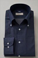 【メンズ・ドレスシャツ・ワイシャツ】 タイトフィット・イタリア製生地・デニム・イタリアンカラー・ボタンダウン・スキッパー・第一ボタン無し・ポケット無し・日本製