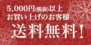 5,000円(税抜)以上お買い上げのお客様 送料無料!