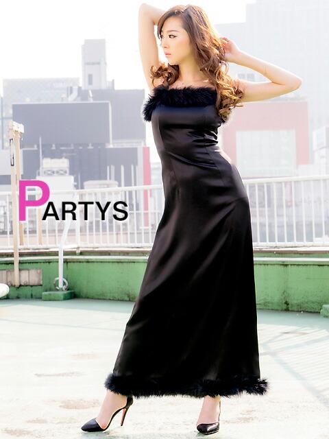 山崎みどり[LK]ブラック胸元&裾ポイントファーシンプルロングドレス
