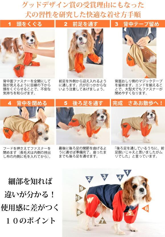 JコートBは着せやすく脱げにくい犬用レインコートです