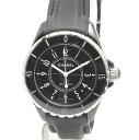 H0683 Chanel J12 38 mm black ceramic x leather belt men's automatic self-winding / 32537 CHANEL