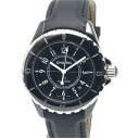 Chanel H0683 J12 Black ceramic x leather men's automatic self-winding / 32703 CHANEL