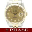 ROLEX( Rolex) date just 16233G YGSS combination champagne gold diamond 10P men self-winding watch /31076 fs3gm