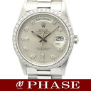 ROLEX( Rolex) D date 18,346A Pt innocent diamond bezel diamond 10P men self-winding watch /31084 fs3gm