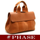 HERMES Val paradise MM canvas X leather orange system HERMES/51766