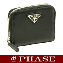 Prada 1M0268 saffiano coin purse black PRADA/44221 fs3gm