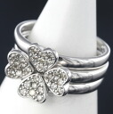 K18WG diamond 0.31 ct clover design ring No. 12.5 / 62616