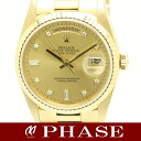 ROLEX( Rolex) 18,238A D date YG innocent champagne diamond 10P men self-winding watch /30836