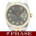 Rolex 16233G date just YGSS combination gray diamond 10P men self-winding watch /31186 fs3gm
