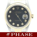 Rolex 16233 G Datejust YGSS Combi black dial diamond 10 p mens automatic winding / 31267 5000036 fs3gm