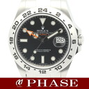 216570 2 Rolex ☆ new model Explorer SS black men self-winding watch roulette /31487