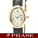 Cartier W1506056 baignoire YG solid x black leather ladies Cartier quartz / 32277