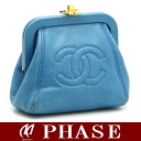 Chanel coin purse pouch caviar skin blue x gold fittings / 42235 fs3gm