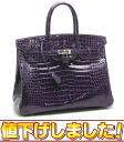 Hermes ☆ unused Birkin handbag 35 Porosus Lycee P engraved Amethyst HERMES/53630
