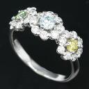 K18WG color diamond 0.50 ct diamonds 0.60 ct flower ring 12 / 62736