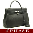 35 HERMES Kelly トゴブラックシルバー metal fittings HERMES/52071