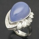 K18WG blue chalcedony 15.33 ct diamond 0.154 ct ring No. 13.5 and 62491