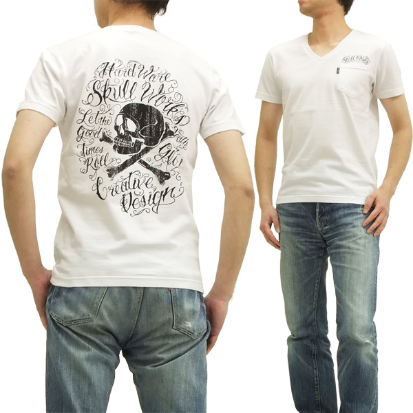 t shirt tattoo lettering skull works mens v neck short sleeve tee 111409