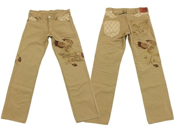 锦图案裤子日本模式中国凤凰刺绣男式牛仔裤 55651