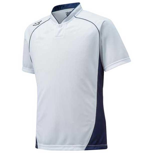 ミズノ MIZUNO 12jc6l1214 野球ウエア ハーフボタン/小衿タイプ ジュニア 14ホワイト×ネイビー 野球 ウエア ベースボールシャツ