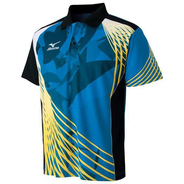 ミズノ 卓球ウエア ドライサイエンス/ゲームシャツ 卓球 24ディーバブルー×ブラック MIZUNO ウエア 82JA600624