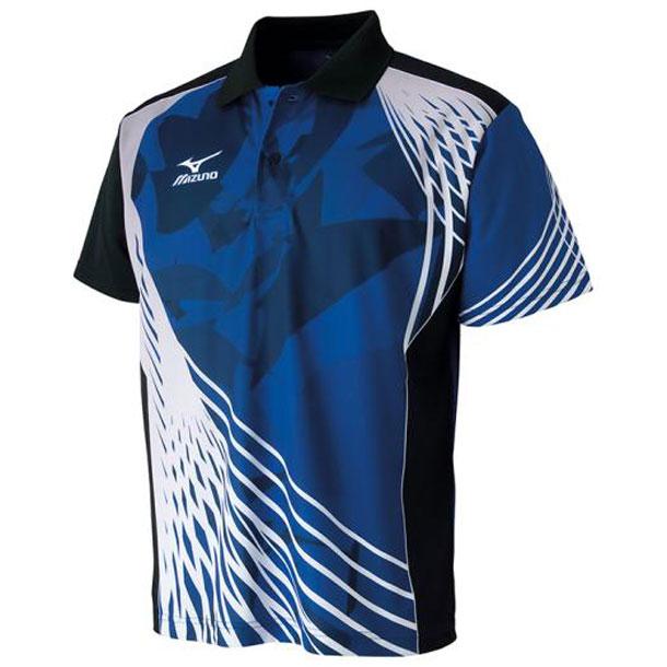 ミズノ 卓球ウエア ドライサイエンス/ゲームシャツ 卓球 25サーフブルー×ブラック MIZUNO ウエア 82JA600625